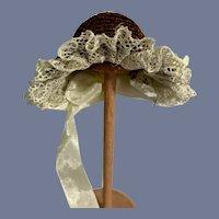 Sweet Vintage Straw Bonnet Hat Lace Trim