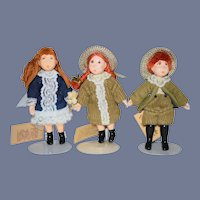 Artist Doll Set Small People  By Cecily Signed w/ Tags Miniature