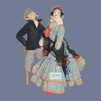 Vintage Doll Set Roldan Couple Cloth Doll W/ Original Tag Character Doll