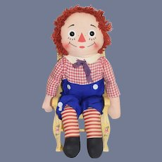 "Vintage Raggedy Andy Cloth Doll Knickerbocker 25"" Tall"