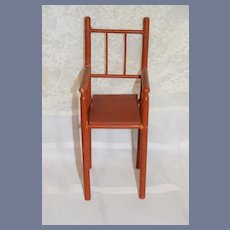 Old Doll Wood Chair Folk Art Petite Size Tall Painted