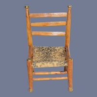 Sweet Vintage Wood Chair Tapestry Seat Petite Size