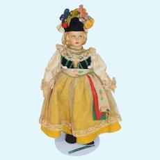 Wonderful Vintage Cloth Doll Felt Clothing Side Glancing Eyes Original Costume