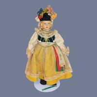 "Wonderful Vintage Italy Raynal Cloth Doll Felt Clothing Side Glancing Eyes Original Costume 12"""