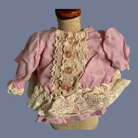 Ultra Pink And White Lace Long Sleeve Blouse