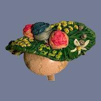 Sweetest Miniature Straw Bonnet For Petite Doll W/ Flowers Hat Topper