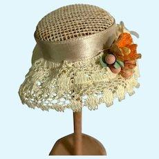 Mini White Petite Doll Bonnet Hat