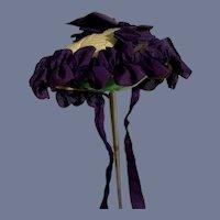 Dark Purple Ruffle Bows Bonnet Doll Hat