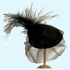 Mini Black Hat with a Veil and Feathers