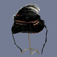 Black Velvet Feather Hat Bonnet Topper