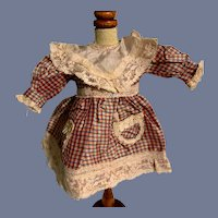 Sweet Plaid Doll Dress Petite Doll Lace Bib Collar