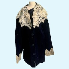 Old Velvet Two Piece Top Jacket W/ Pants Knickers For Mannequin or Large Doll
