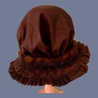 Fancy Vintage Doll Bonnet Hat W/ Fur Trim Fancy Bow Gathered Brim French Market