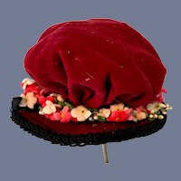 Ruby Red Velvet Hat With Pink and White Flowers French Market