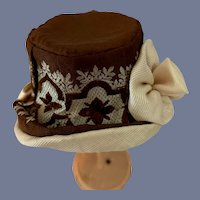 Brown Silk Top Hat With Silver Flowers Petite Doll