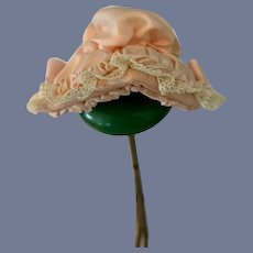 Adorable Little Light Pink Silk Bonnet With White Lace Trim French Market High Brim