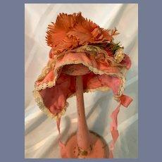 Gorgeous Doll Bonnet Hat W/ Lace Trim and Fancy Flowers