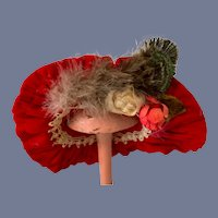 Sweet Red Velvet Doll Bonnet Hat w/ Feathers and Flowers