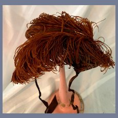 Wonderful Velvet W/ Old Floppy Feather Doll Bonnet Hat