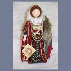 Vintage Doll Wood Carved Artist Doll Queen Elizabeth Mary Michaud Signed W/ Tag