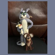 Vintage Uniquely Whimsical Tom and Jerry and Dog Friend Cartoon Characters Artist Doll Set