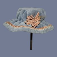 Blue Velvet Doll Bonnet Hat With Pink and White Trim Petite Size Sweet