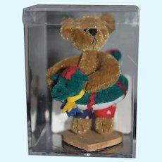 "Wonderful Miniature Jointed Artist Teddy Bear W/ Floatie ""JACK"" by Deborah Canham Original case W/ COA"