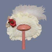 Sweet Doll Bonnet Wire Framed Fashion Doll Hat W/ Feather Flowers