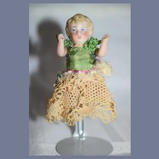 Antique All Bisque Jointed Miniature Doll All Bisque Dollhouse