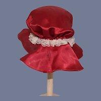 Vintage Doll Bonnet Hand Made Hat Lace Silk