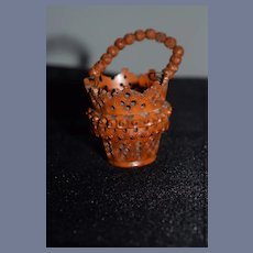 Wonderful Miniature Carved Nut Basket W/ Carved flower ball Handle For Doll