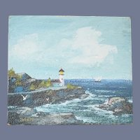 Original Painting By C.T. Bratt Lighthouse Miniature 1971 Dollhouse