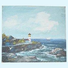 Original Painting By C.T. Bratt Lighthouse Miniature 1971 Dollhouse