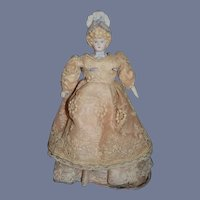 Sweet Miniature Artist Doll Dollhouse Lady W/ Fancy Old Dress Bonnet Head