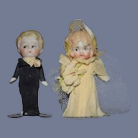 Old Miniature Bride Groom in Crepe Paper Clothing Dollhouse Sweet
