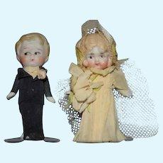 Old Miniature Bride Groom in Crepe Paper Clothing Dollhouse Sweet