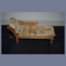 Sweet Old Upholstered Wood Velvet Tapestry Chaise Lounge Miniature Dollhouse