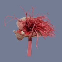 Wonderful Old Red Lace Bonnet Doll Hat W/ Feathers French Market