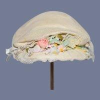 Sweet Doll Bonnet Hat Lace Flowers Ribbon Bow