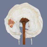 Sweet Vintage Doll Bonnet Wire Brim Fancy Bow & Flower