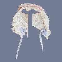 Sweet Doll Lace Bonnet Hat Threaded Ribbon