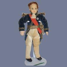 Old Cloth Doll Felt Lenci Type Napoleon Original Costume Wonderful