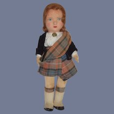 """Old Cloth Felt Doll Scottish Outfit Jointed 16"""" Tall"""