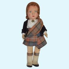 "Old Cloth Felt Doll Scottish Outfit Jointed 16"" Tall"