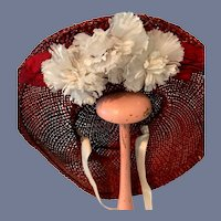 Vintage Fancy Doll Straw Wide Brim Doll Bonnet Hat W/ Flowers and Sash