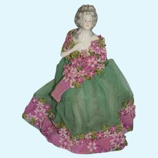 Old Half Doll China Head Lamp Sweet Dressed