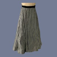Old Hand Made Beautiful  Doll Silver and Black Stripe Skirt Fashion Doll
