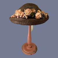 Wonderful Straw Bonnet Doll Hat With Pink Flowers and Bees