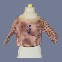 Old Cotton Hook Back Gingham Lace Trim Doll Shirt Top Blouse