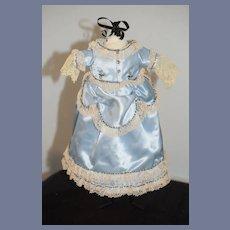 Sweet Vintage Satin Doll Dress Fancy Lace Trim & Beads